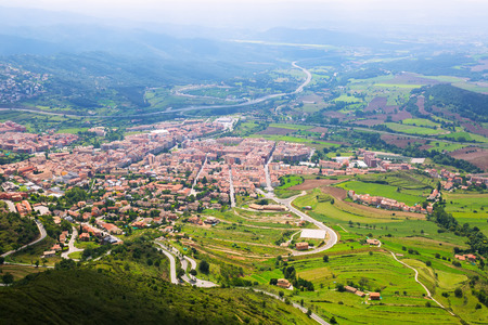 Town in Pyrenees from mount. Berga