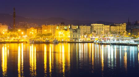 columb: Port Vell at Barcelona in night.  Spain Stock Photo