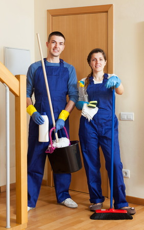 cleaning team: Cleaning premises team is ready to work Stock Photo