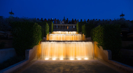 gazer: Evening view at Montjuic fountain in Barcelona.  Spain