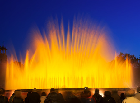 colorful  Montjuic fountain in Barcelona. Catalonia
