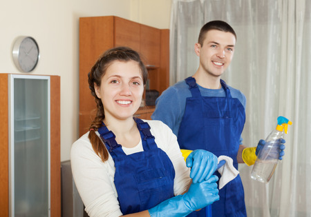 doing chores: Team of professional cleaners doing chores at home