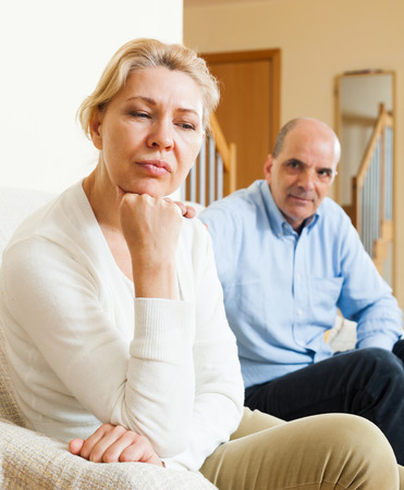 wife and husband: Senior mature wife and husband having quarrel at home