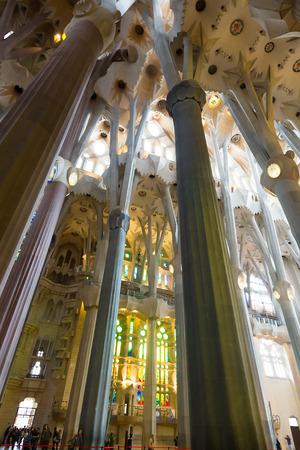 sagrada familia: BARCELONA, SPAIN - MAY 22, 2014: Interior of Sagrada Familia in Barcelona