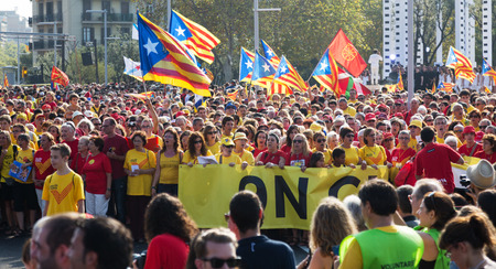 independency: BARCELONA, SPAIN - SEPTEMBER 11, 2014: People  at  National Day of Catalonia in Barcelona