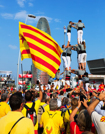 independency: BARCELONA, SPAIN - SEPTEMBER 11, 2014: Castell show in The National Day of Catalonia. 300th anniversary of  loss of independence of Catalonia Editorial