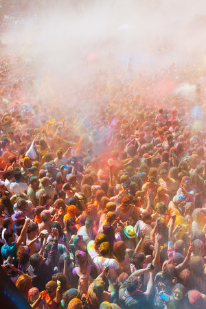 trituration: BARCELONA, SPAIN - APRIL 12, 2015: Happy dirty people at Festival de los colores Holi at Barcelona. It is traditional holiday  of India Editorial