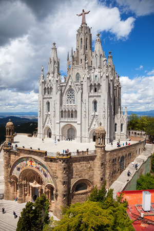 lasted: BARCELONA, SPAIN - MAY 18: Expiatory Church of the Sacred Heart of Jesus in May 18, 2013 in Barcelona, Spain.  The construction of the temple dedicated to the Sacred Heart, lasted from 1902 to 1961