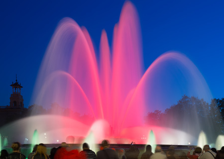 colorful  Montjuic fountain in Barcelona. Catalonia, Spain photo