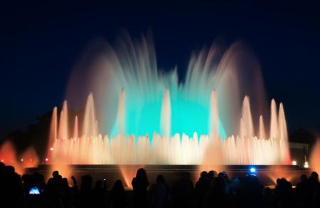 montjuic: colorful  Montjuic fountain in Barcelona. Catalonia