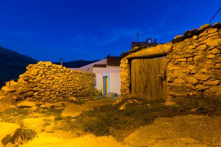 aragon: night view of picturesque  houses in Utrillas.Teruel, Aragon