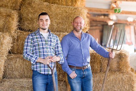 hayloft: Portrait two farm workers tedding the hay at hayloft Stock Photo