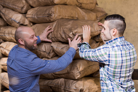 workplace wellness: Strong american workmen unloading shed with coal bags