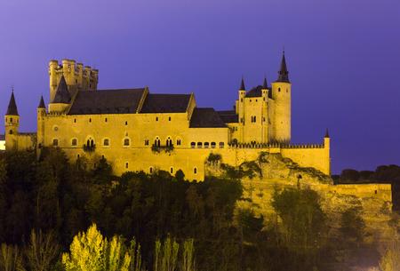 castile leon: Alcazar of Segovia in november evening.   Castile and Leon, Spain