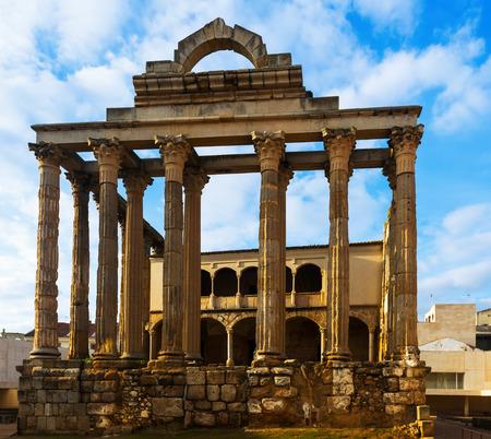 diana: ancient temple of Diana in sunny sunset. Merida, Spain Stock Photo