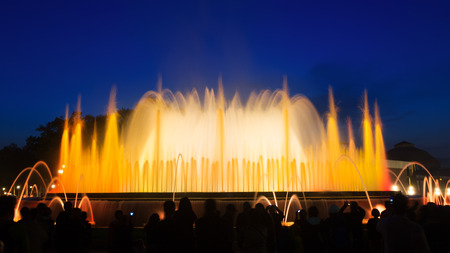 montjuic: Evening view at colorful vocal Montjuic fountain in Barcelona. Spain Stock Photo