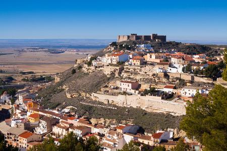 chinchilla: Chinchilla de Monte-Aragon with medieval castle at hill.  Albacete, Spain