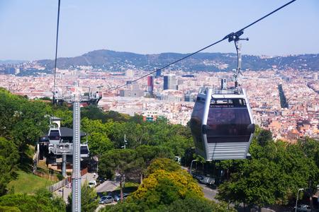 montjuic: Montjuic Cable Car in Barcelona. Catalonia