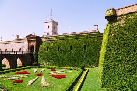 montjuic: Gate of Castillo de Montjuic in summer. Barcelona,  Spain
