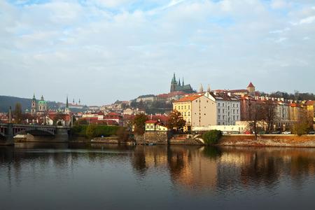 vltava: View of Prague from Vltava side, Czechia Stock Photo