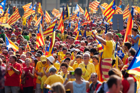 demanding: BARCELONA, SPAIN - SEPTEMBER 11, 2014: Rally demanding independence for Catalonia (National Day of Catalonia)