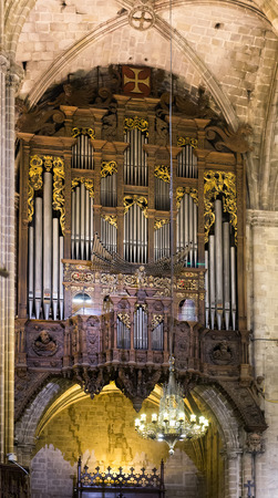 choral: Organ with pipes at The Cathedral of  Barcelona Stock Photo