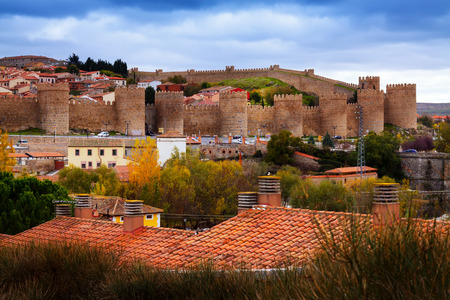 avila: view of the Walls of Avila in autumn.  Spain Editorial