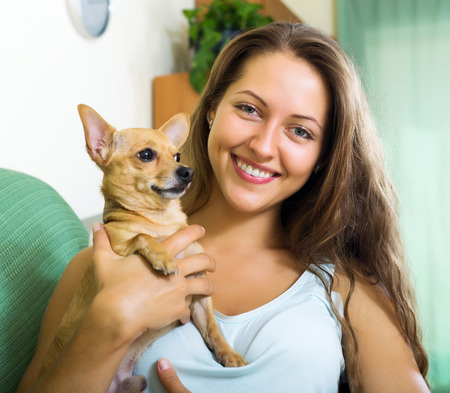 russkiy: Happy girl holding Russkiy Toy Terrier indoor