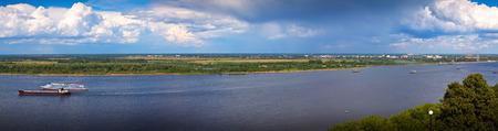 nizhni novgorod: View from the steep banks of the Volga river in Nizhny Novgorod Stock Photo