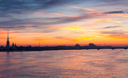 Neva river summer dawn. St. Petersburg, Russia photo