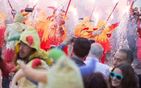 fiestas: BADALONA, SPAIN - MAY 10, 2014: Night of Saint Anastasi. Show with fireworks on  town square
