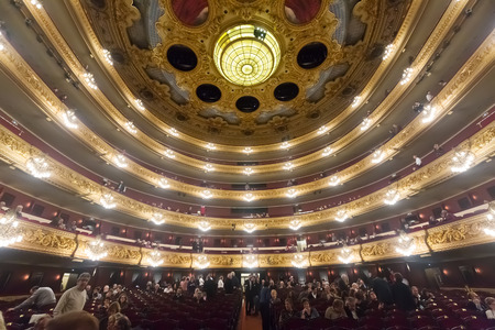 beethoven: BARCELONA, SPAIN - MARCH 27, 2015: Audience at Beethoven Concert in The Gran Teatre del Liceu, famous opera house in Barcelona, Spain