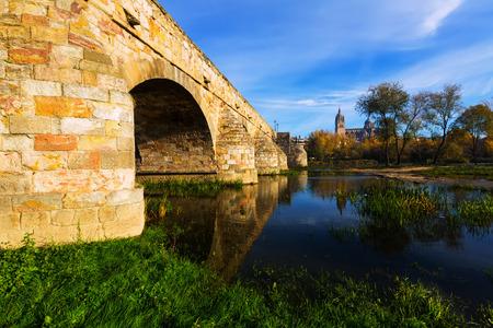 salamanca: Autumn view of Salamanca with old bridge. Spain