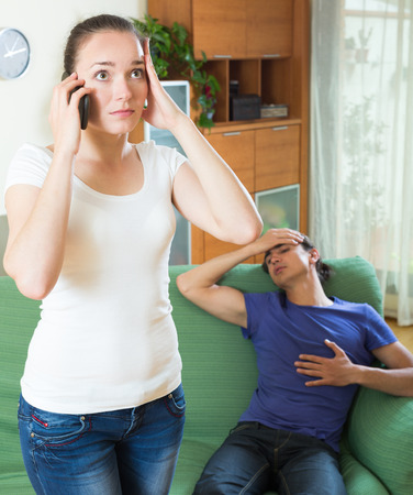 sick: Woman calls to medicine for sick guy in home