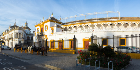 toros: SEVILLE, SPAIN - NOVEMBER 19, 2014: View of Plaza de Toros, the location of  Bullfighting Museum. Seville