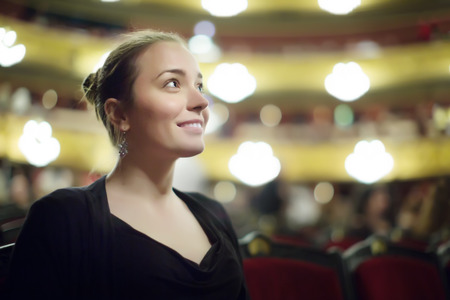 Portrait of woman in The Gran Teatre del Liceu, famous opera house in Barcelona, Catalonia
