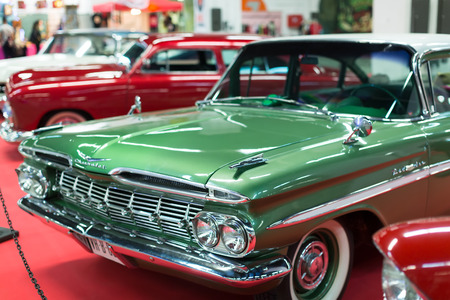 17th: BARCELONA, SPAIN - OCTOBER 3, 2014: Vintage  automobiles at carshow. The 17th edition of The Barcelona Tattoo Expo in Fira de Barcelona