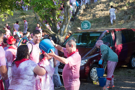 vino: HARO, SPAIN - JUNE 29, 2014:   Batalla del vino - wine madness in Haro