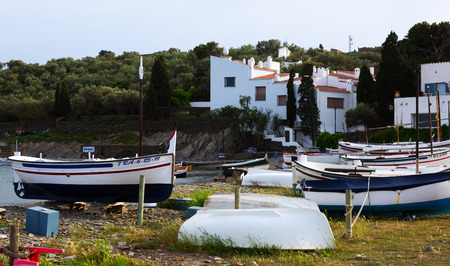 CADAQUES, SPAIN - MAY 14, 2015: Boats near  home of Dali at  Cadaques. Catalonia