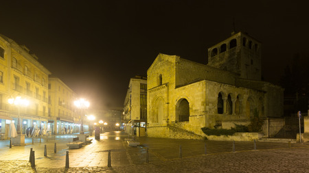 holy trinity: night street view with  Church of the Holy Trinity. Segovia, Spain
