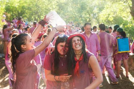 vino: HARO, SPAIN - JUNE 29, 2014: Happy people during Batalla del vino - Haro Wine Festival, La Rioja