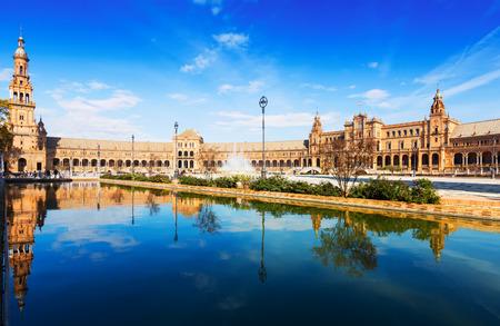Tagesansicht der Plaza de Espana (Spanien Quadrat). Sevilla, Spanien Lizenzfreie Bilder
