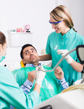 Upset client and dental clinic crew during check up