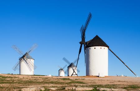 mancha: Few windmills in field. La Mancha, Spain