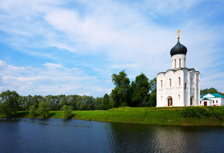 nerl: Church of the Intercession on the River Nerl in summer. Vladimir region, Golden Ring of Russia