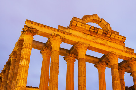 diana: Closeup of ancient temple of Diana in early morning. Merida, Spain Stock Photo