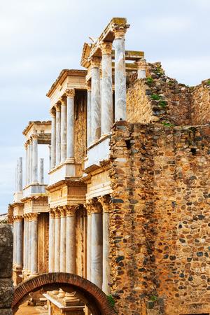 teatro antiguo: Opini�n del d�a del antiguo teatro romano de M�rida. Extremadura, Espa�a Foto de archivo