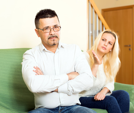 adultery: Married couple having quarrel over adultery Stock Photo