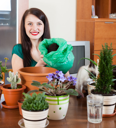 replant: Young woman transplanting potted flowers at her home Stock Photo