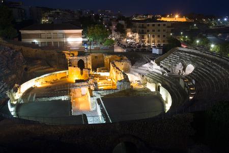 roman amphitheater: ancient Roman amphitheater  in night time. Tarragona, Spain Stock Photo